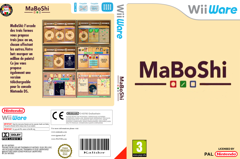 MaBoShi:l'arcade des trois formes Wii coverfullHQ (WMBP)