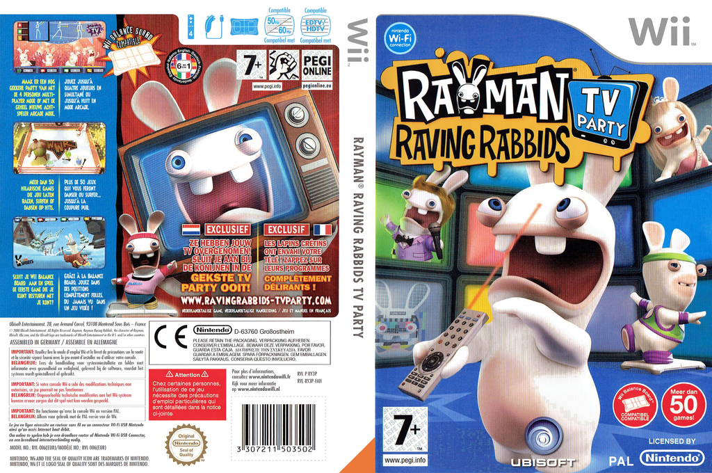 Rayman Raving Rabbids: TV Party Wii coverfullHQ (RY3P41)
