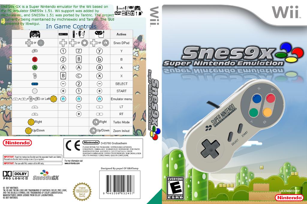 SNES9xGX Wii coverfullHQ (9XGX)