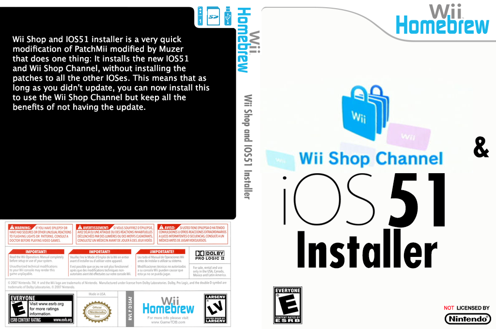 Wii Shop and IOS51 Installer Wii coverfullHQ (D15A)