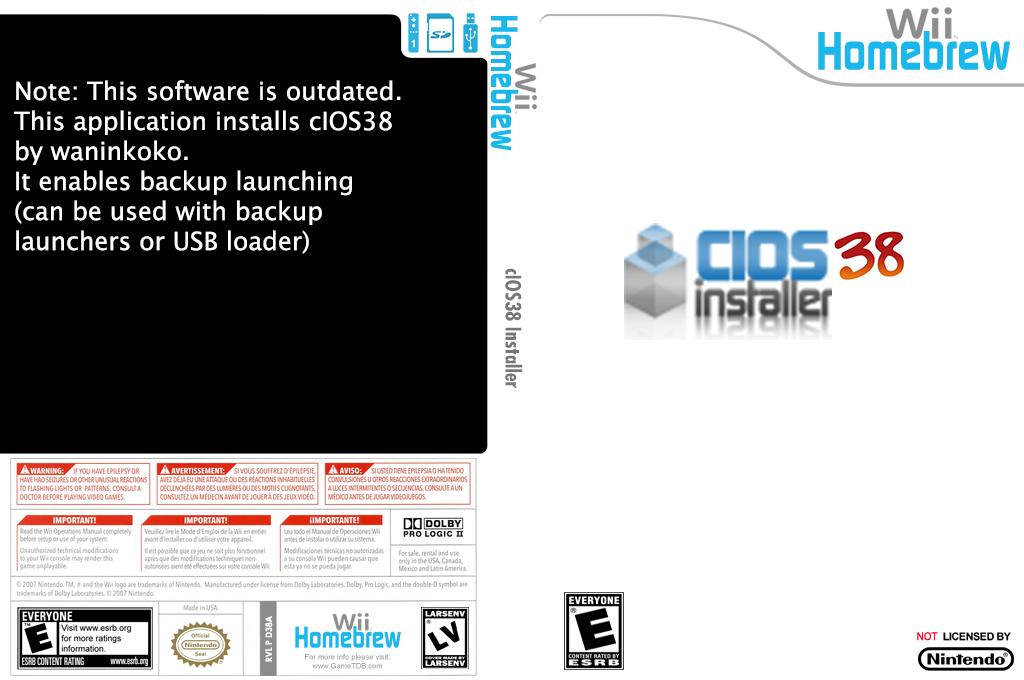 cIOS38 installer Wii coverfullHQ (D38A)