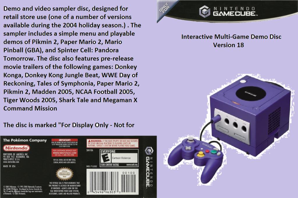 Interactive Multi-Game Demo Disc - Version 18 Wii coverfullHQ (D77E01)