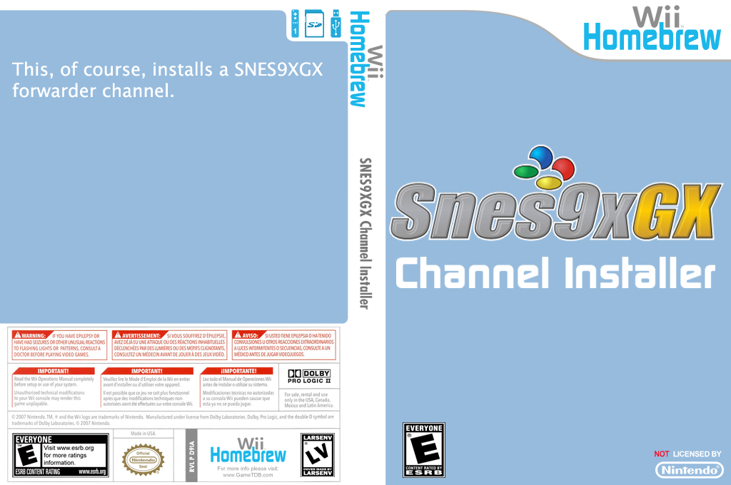 SNES9xGX Channel Installer Wii coverfullHQ (D9IA)