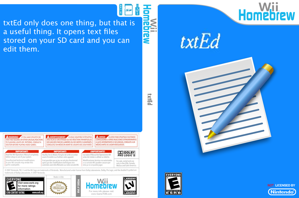 Txted Wii coverfullHQ (DEDA)
