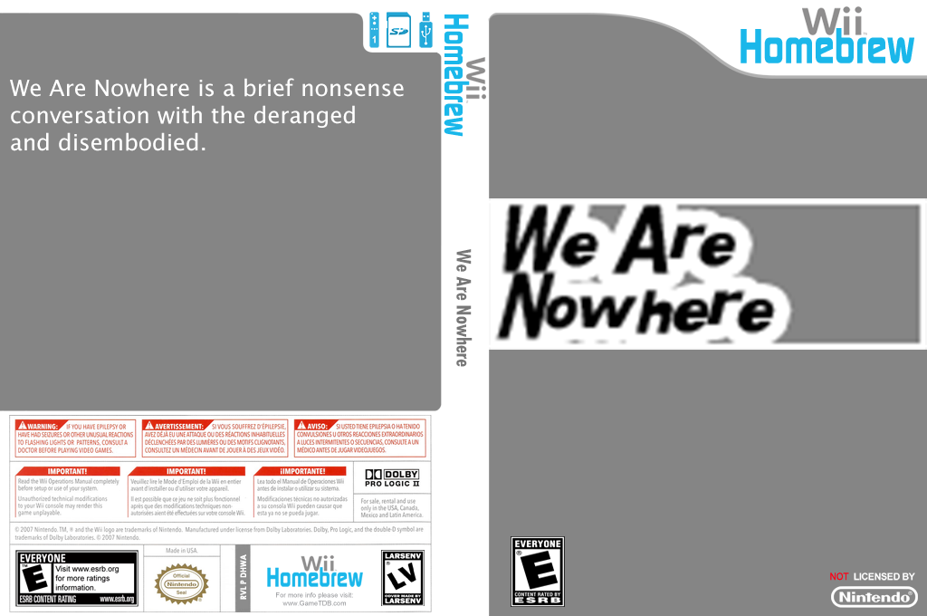 We Are Nowhere Wii coverfullHQ (DHWA)