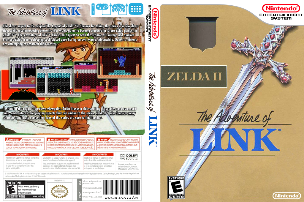 Zelda II: The Adventure of Link Wii coverfullHQ (FA9E)