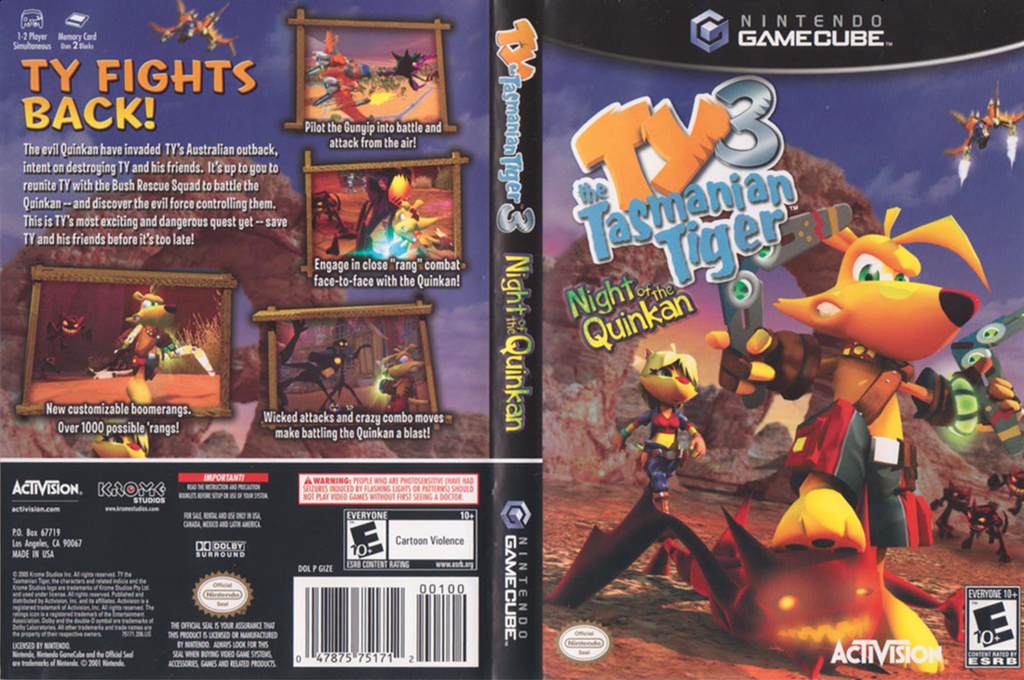Ty the Tasmanian Tiger 3: Night of the Quinkan Wii coverfullHQ (GIZE52)