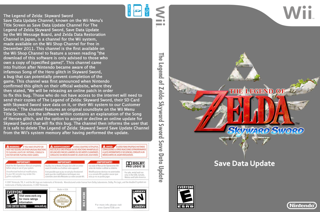 The Legend of Zelda: Skyward Sword Save Data Update Channel Wii coverfullHQ (HCRE)