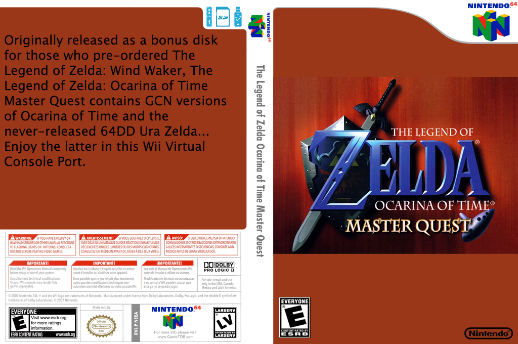 The Legend of Zelda: Ocarina of Time Master Quest Wii coverfullHQ (NEEA)