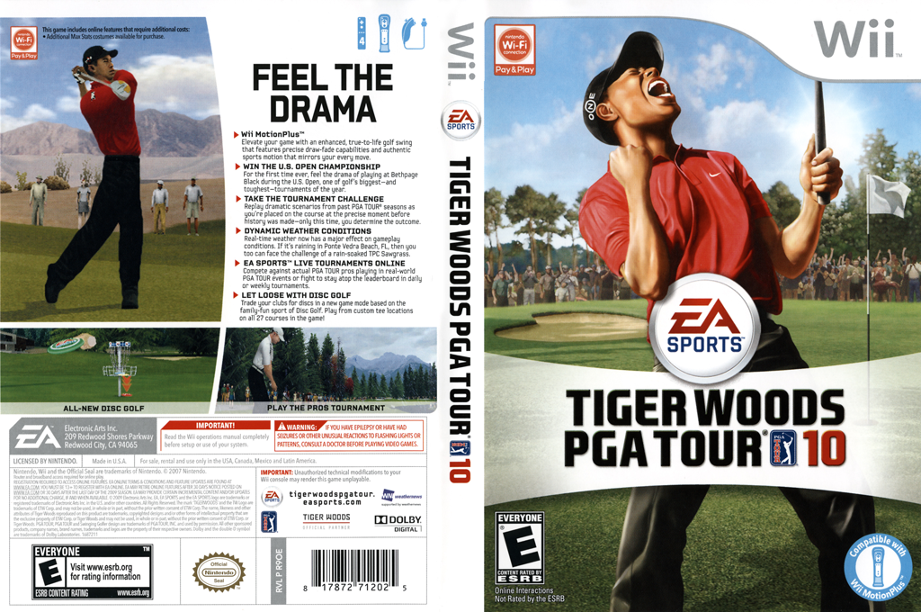 Tiger Woods PGA Tour 10 Wii coverfullHQ (R9OE69)