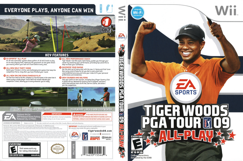 Tiger Woods PGA Tour 09 All-Play Wii coverfullHQ (R9TE69)