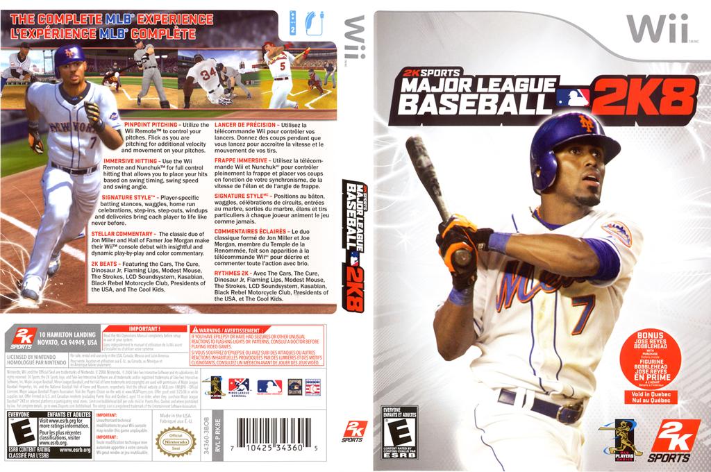 Major League Baseball 2K8 Wii coverfullHQ (RK8E54)