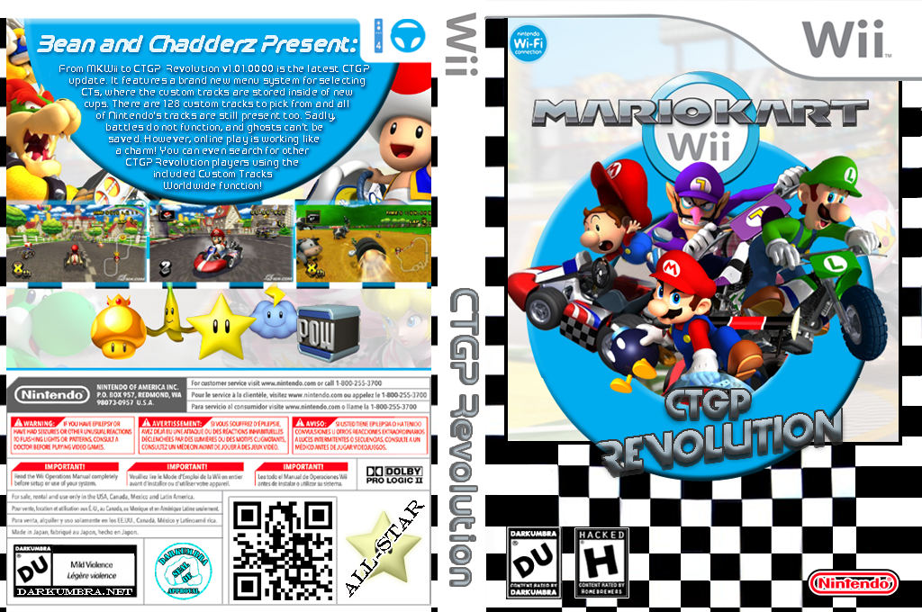 Mario Kart Wii CTGP Revolution Wii coverfullHQ (RMCEGP)