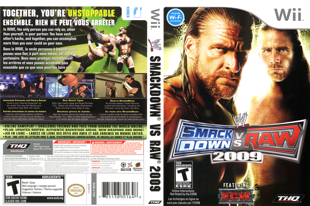 WWE SmackDown vs. Raw 2009 Wii coverfullHQ (RR9E78)