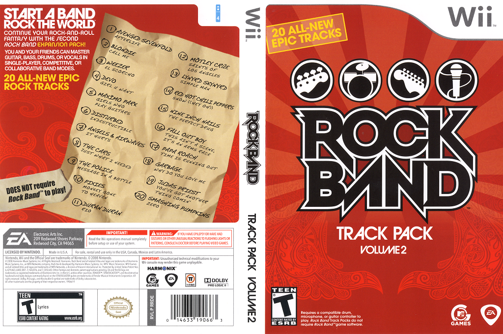 Rock Band Track Pack: Vol. 2 Wii coverfullHQ (RRDE69)