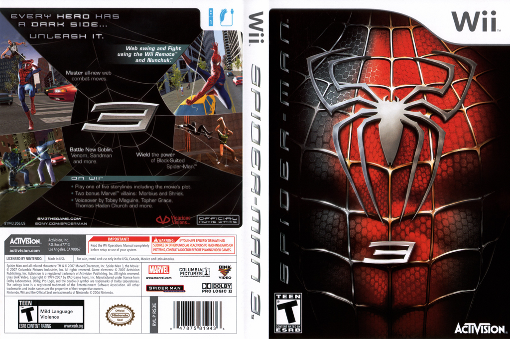 Spider-Man 3 Wii coverfullHQ (RS3E52)