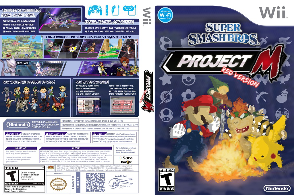 Super Smash Bros. Project M Red Version Wii coverfullHQ (RSBE02)