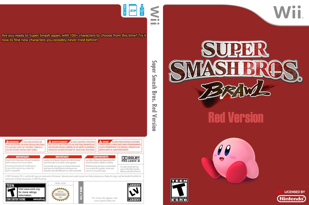 Super Smash Bros. Red Version Wii coverfullHQ (RSBE25)