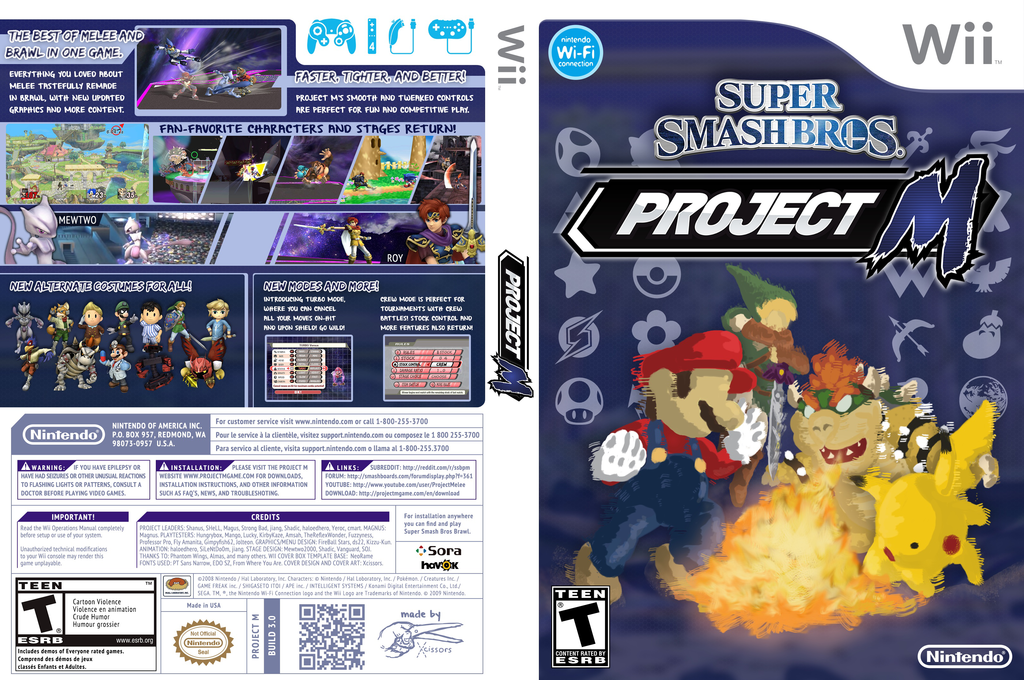 Super Smash Bros. Project M Wii coverfullHQ (RSBEN1)