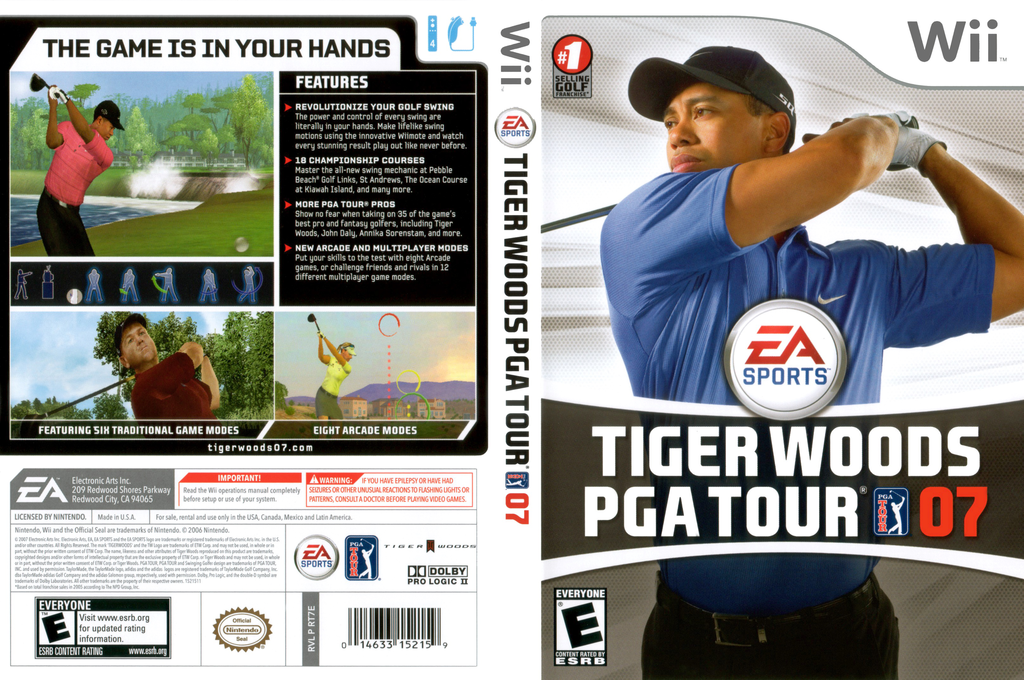 Tiger Woods PGA Tour 07 Wii coverfullHQ (RT7E69)