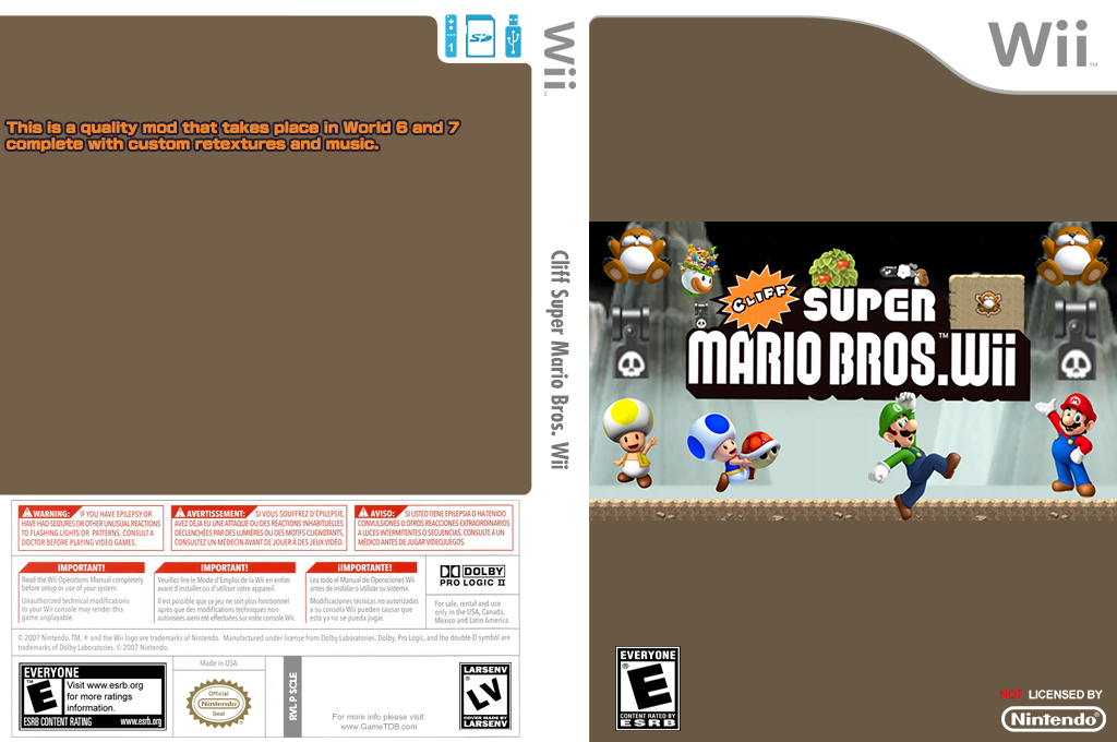 Cliff Super Mario Bros. Wii Wii coverfullHQ (SCLE01)