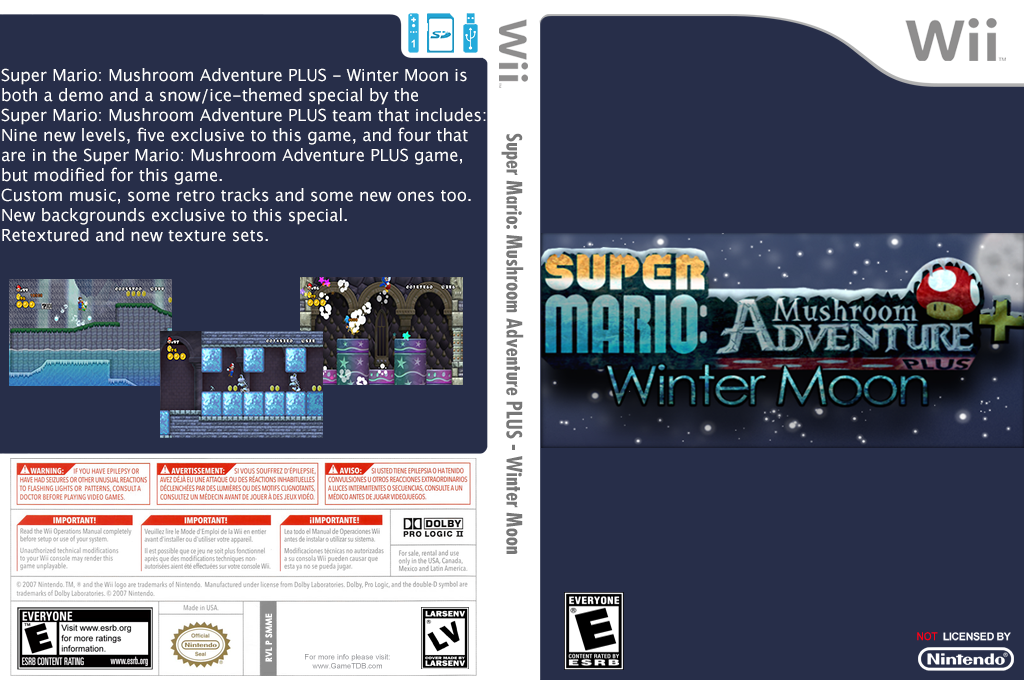 Super Mario: Mushroom Adventure PLUS - Winter Moon Wii coverfullHQ (SMME02)