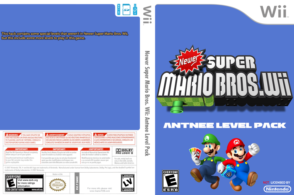 Newer Super Mario Bros. Wii: Antnee Level Pack Wii coverfullHQ (SMNE39)