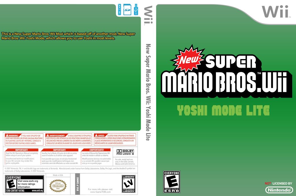New Super Mario Bros. Wii: Yoshi Mode Lite Wii coverfullHQ (SMNE42)