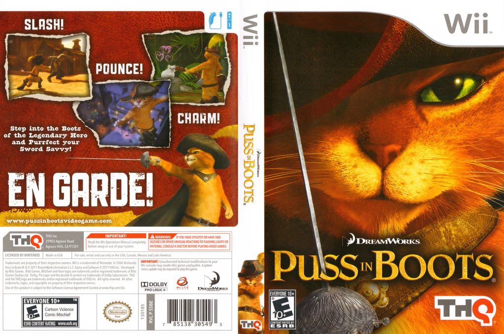 Puss in Boots Wii coverfullHQ (SSBE78)