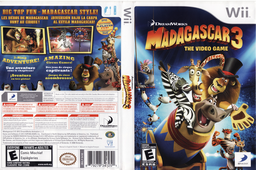 Madagascar 3: The Video Game Wii coverfullHQ (SV3EG9)