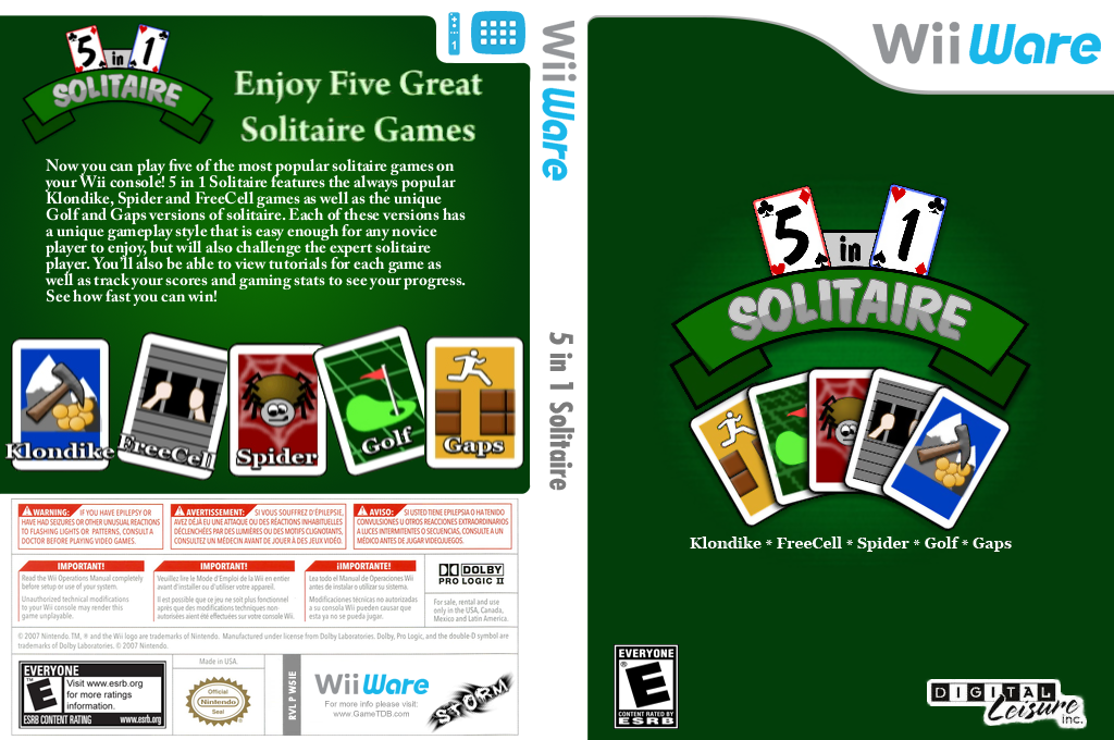 5 in 1 Solitaire Wii coverfullHQ (W5IE)