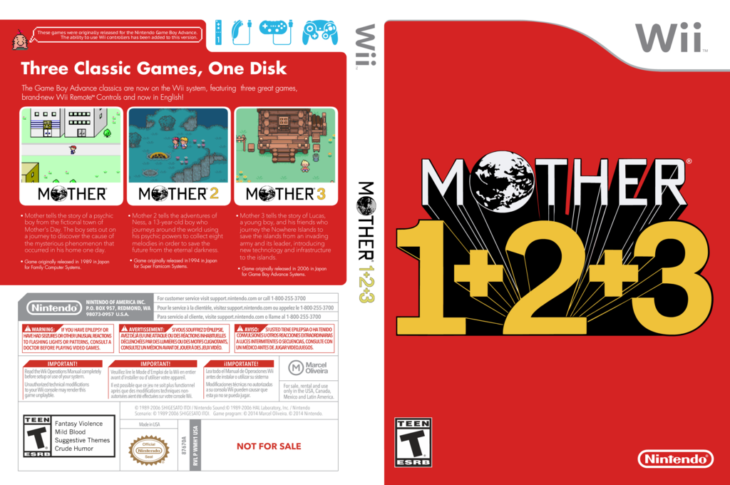 Mother 1+2+3 Wii coverfullHQ (WMH1)