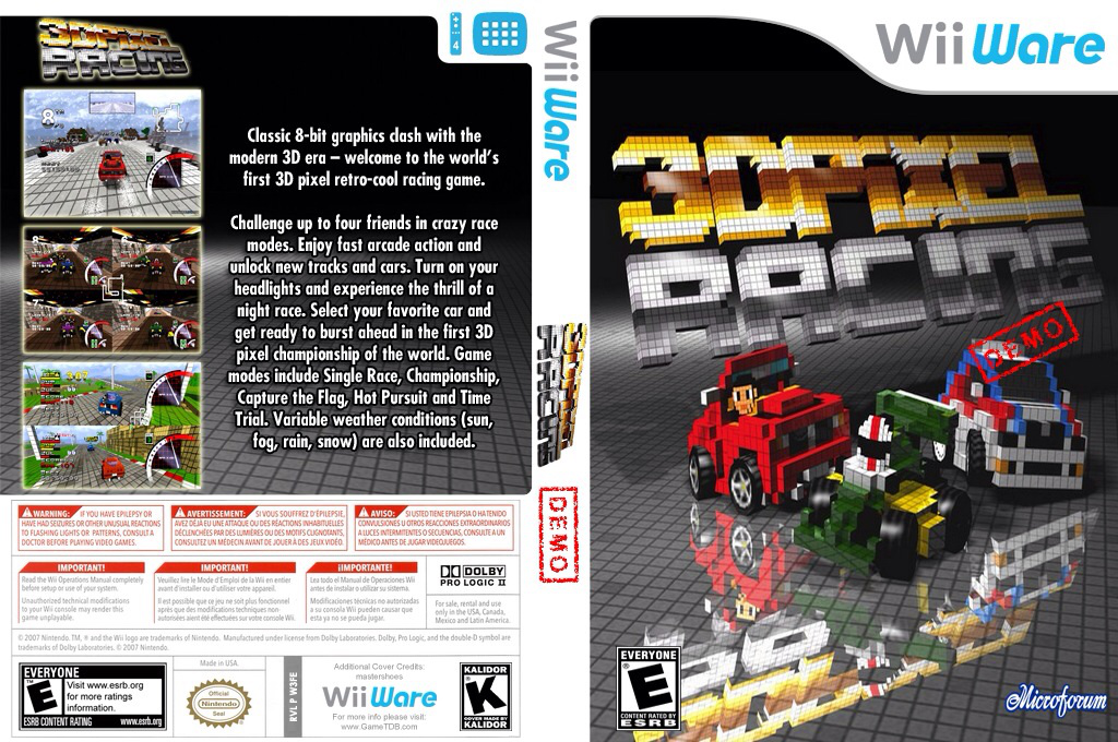 3D Pixel Racing Demo Wii coverfullHQ (XIZE)