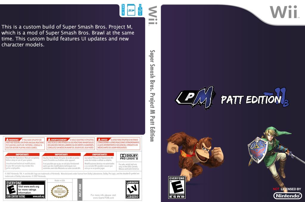 Super Smash Bros. Project M Patt Edition Wii coverfullHQ2 (RSBE05)