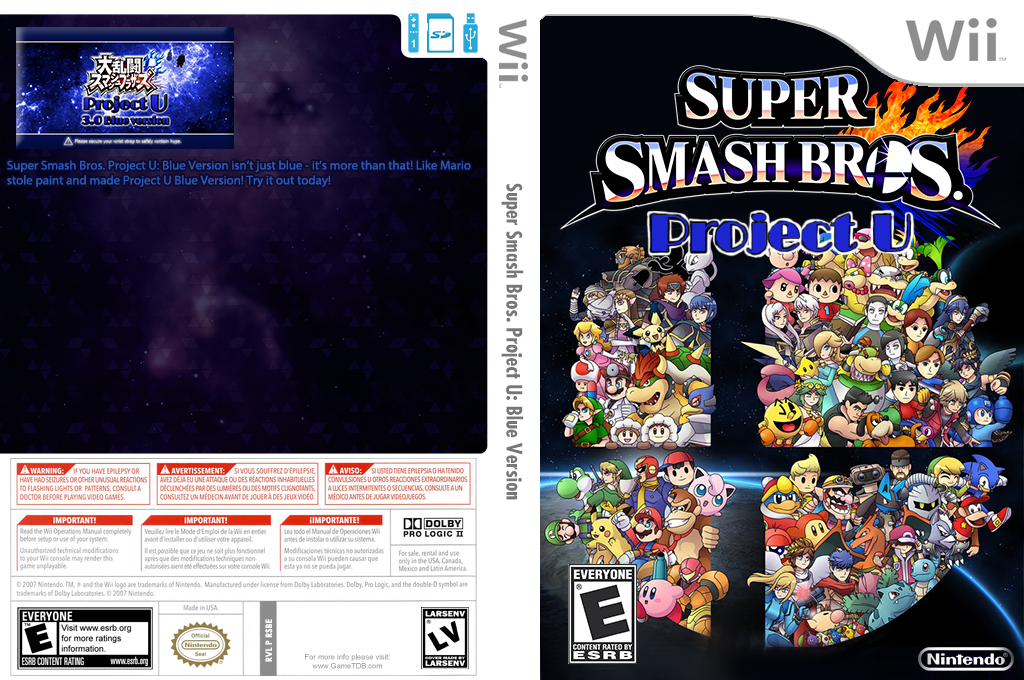 Super Smash Bros. Project U: Blue Version Wii coverfullHQ2 (RSBE34)