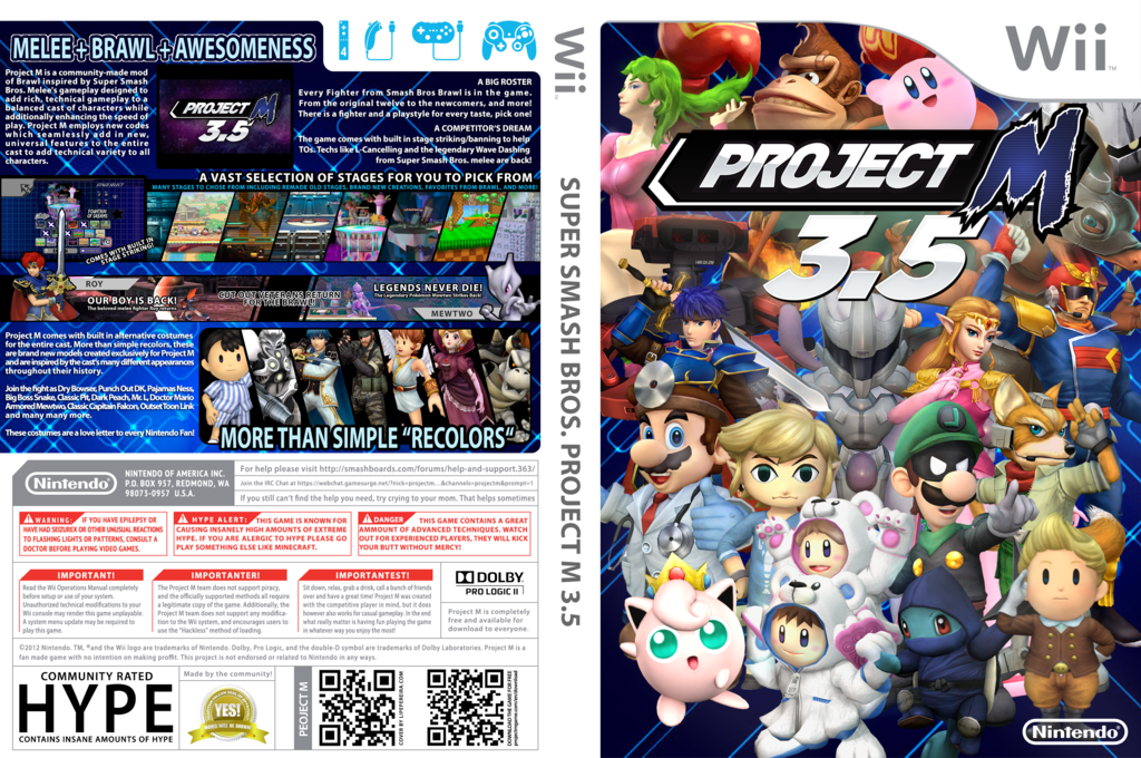 Super Smash Bros. Project M Wii coverfullHQ2 (RSBEN1)