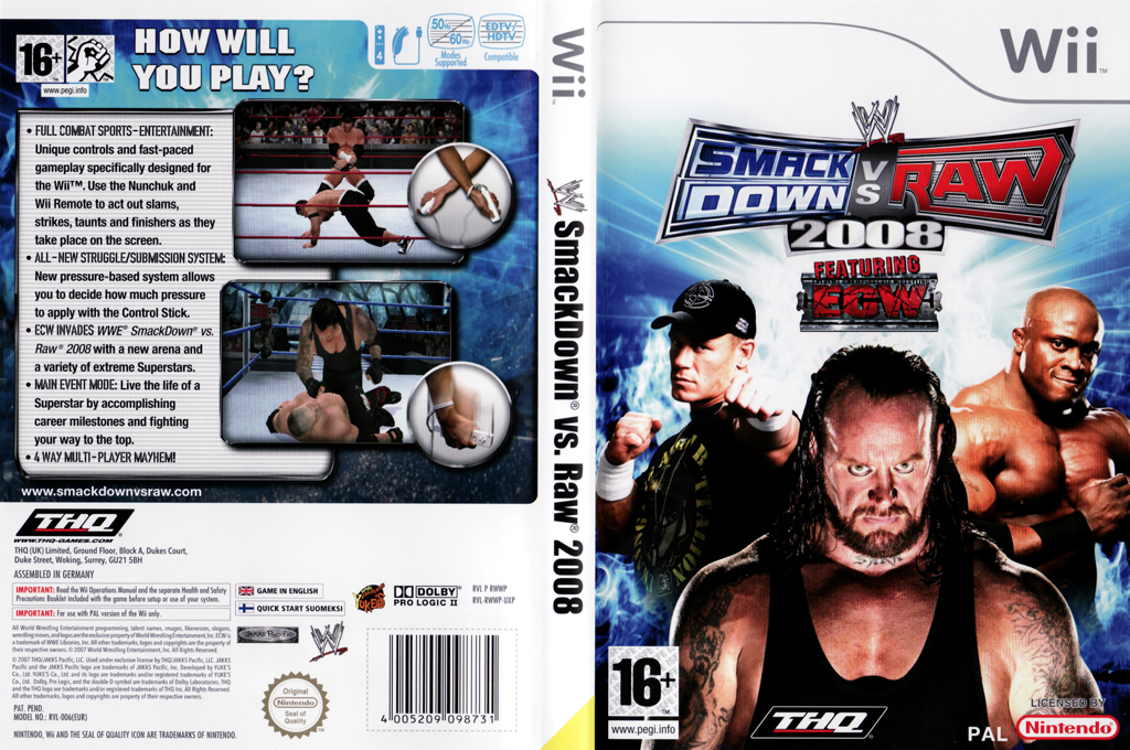WWE SmackDown vs. Raw 2008 Wii coverfullHQB (RWWP78)