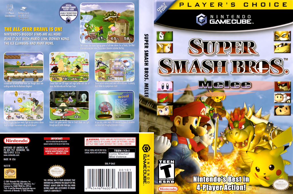 Super Smash Bros. Melee Wii coverfullHQB (GALE01)