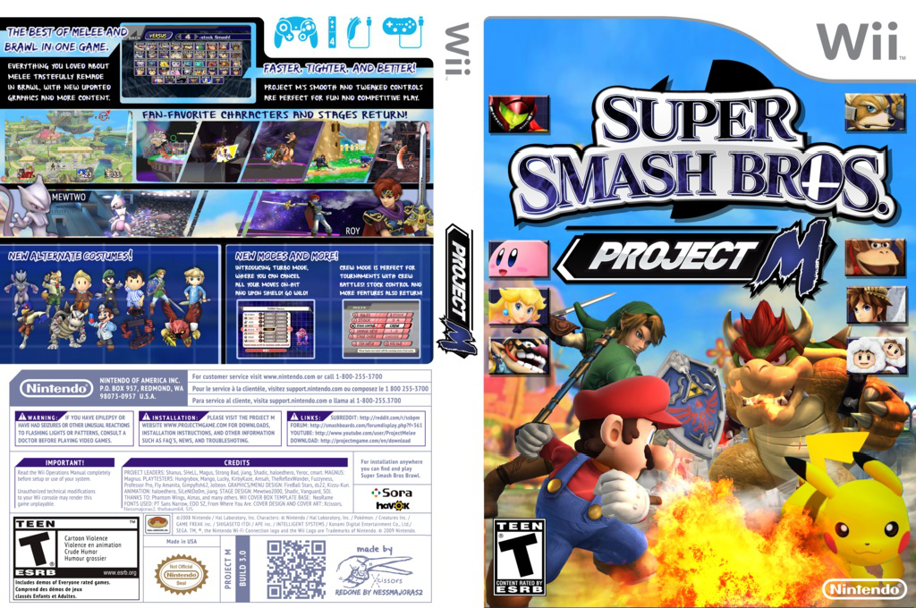 Super Smash Bros. Project M Wii coverfullHQB (RSBEN1)
