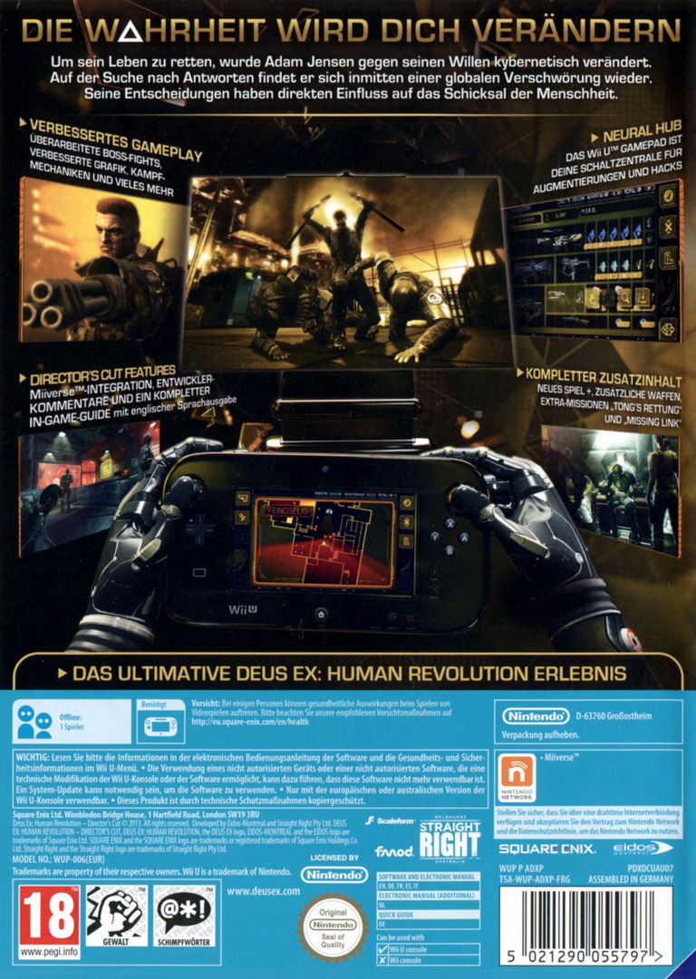 Deus Ex: Human Revolution – Director's Cut WiiU backHQ (ADXPGD)