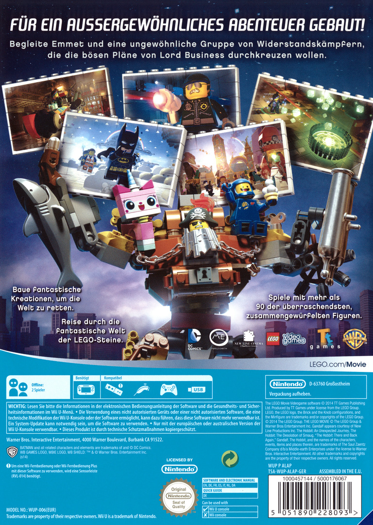 The LEGO Movie Videogame WiiU backHQ (ALAPWR)
