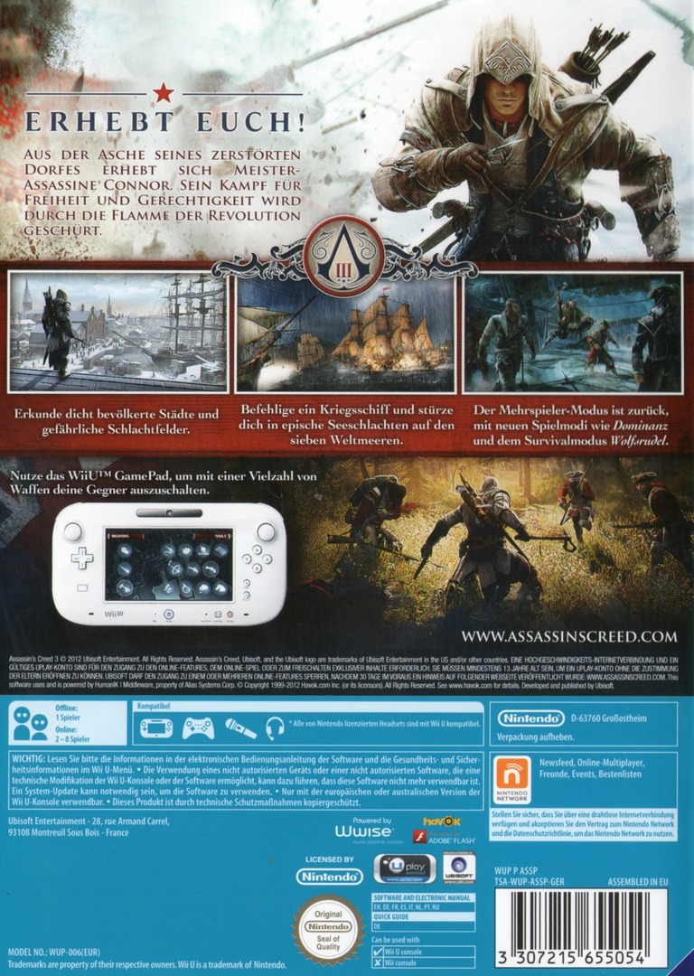Assassin's Creed III WiiU backHQ (ASSP41)