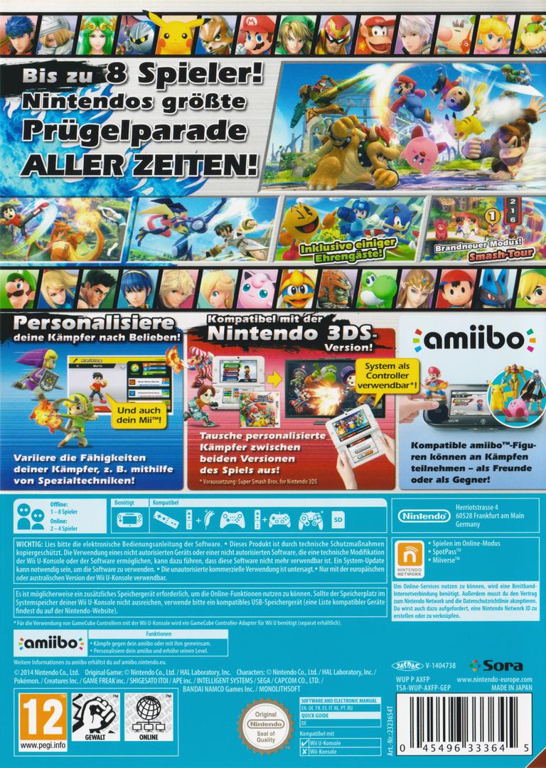 Super Smash Bros. for Wii U WiiU backHQ (AXFP01)