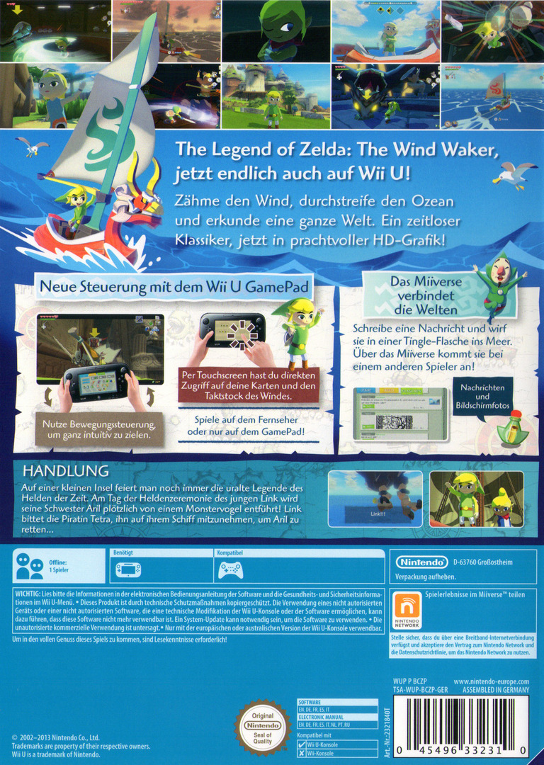The Legend of Zelda: The Wind Waker HD WiiU backHQ (BCZP01)