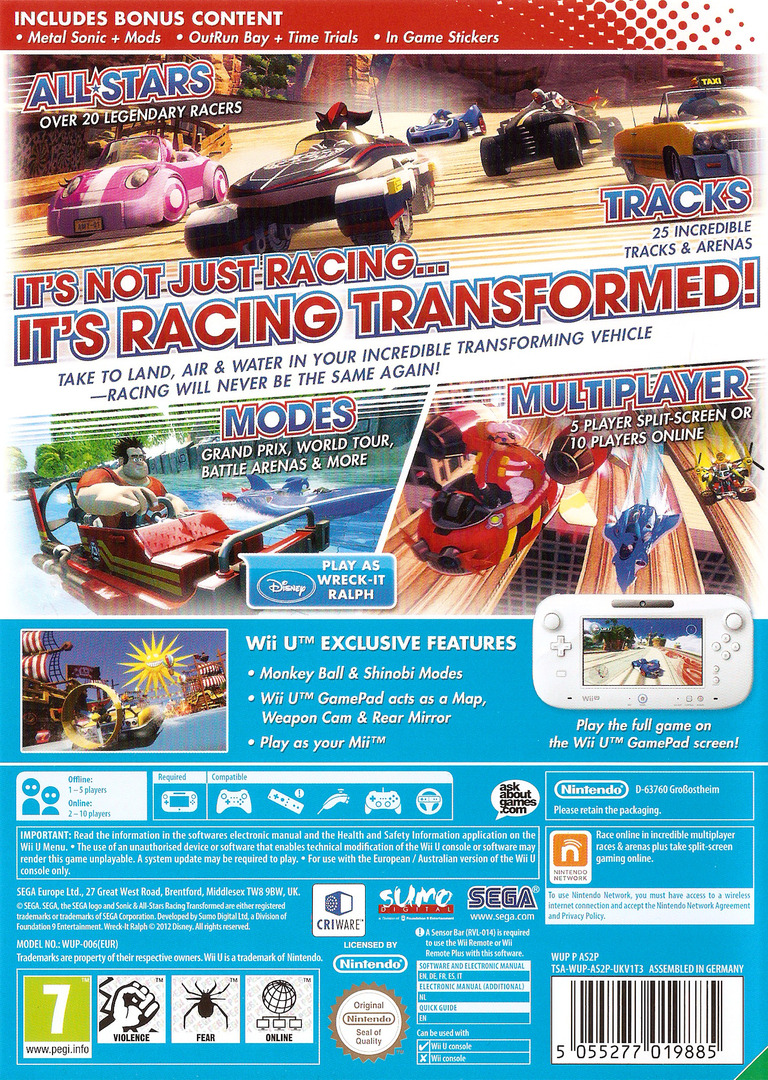 Sonic & All-Stars Racing Transformed WiiU backHQ (AS2P8P)