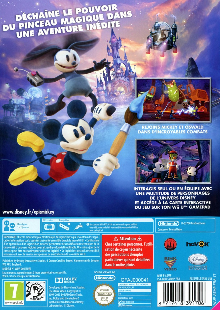 Disney Epic Mickey:Le retour des héros WiiU backHQ (AEMP4Q)