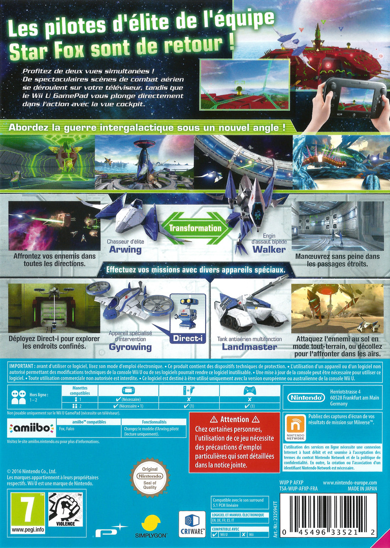 Star Fox Zero WiiU backHQ (AFXP01)