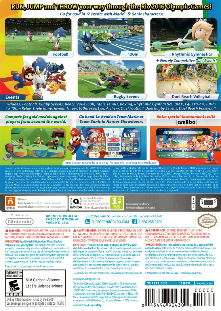 Mario & Sonic at the Rio 2016 Olympic Games WiiU backHQ (ABJE01)