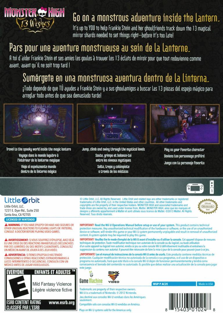 Monster High: 13 Wishes WiiU backHQ (AC2EVZ)