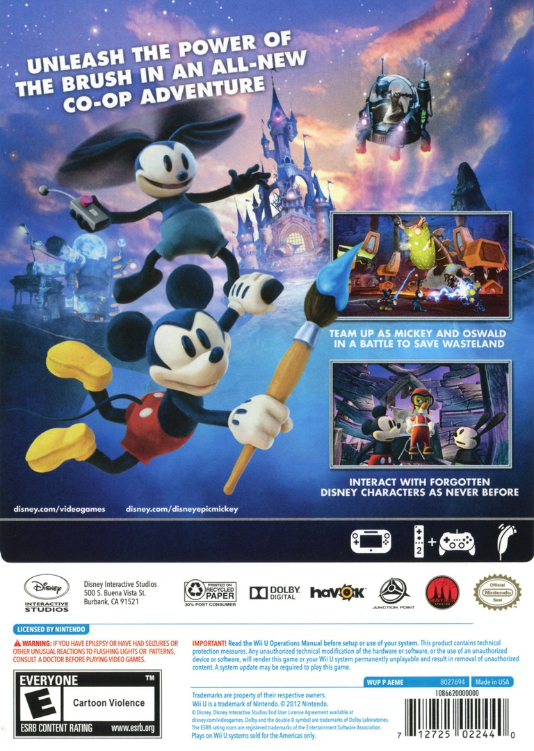 Disney Epic Mickey 2: The Power of Two WiiU backHQ (AEME4Q)